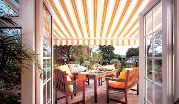 vertical striped garden awning