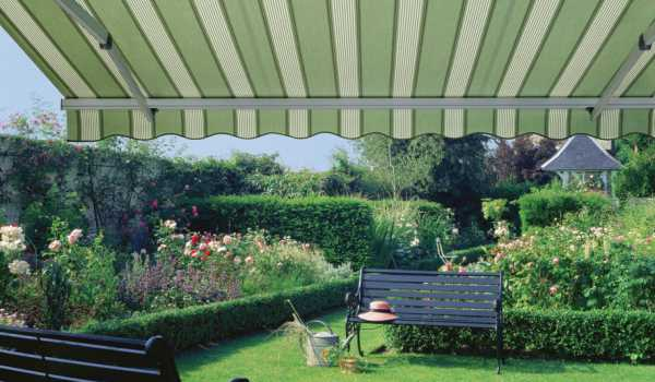 striped small garden awning