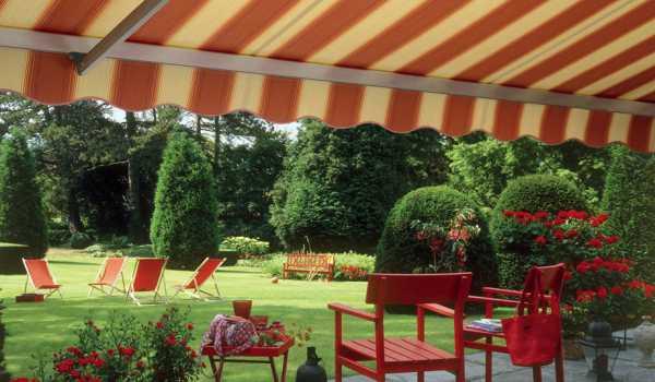 striped garden awning