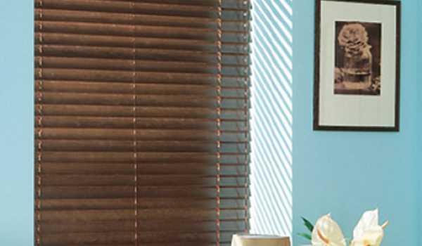 dark wood blinds