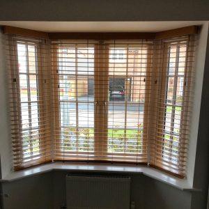 open wooden blinds