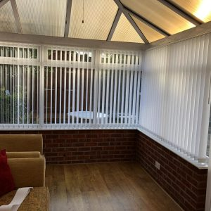 vertical blinds in a conservatory