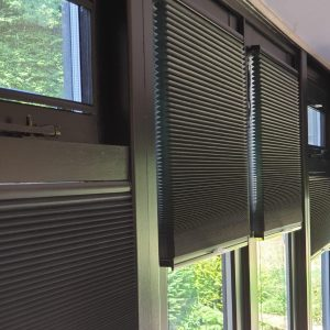 closeup of black duette blinds