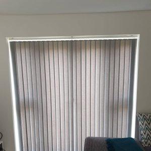 pale grey vertical blinds on patio doors