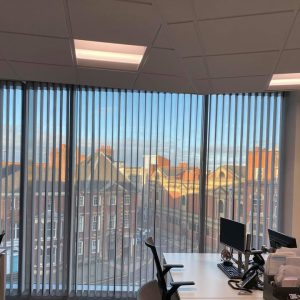 commercial blinds, vertical blinds in an office