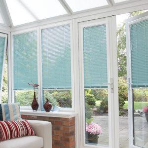 pale blue Venetian blinds