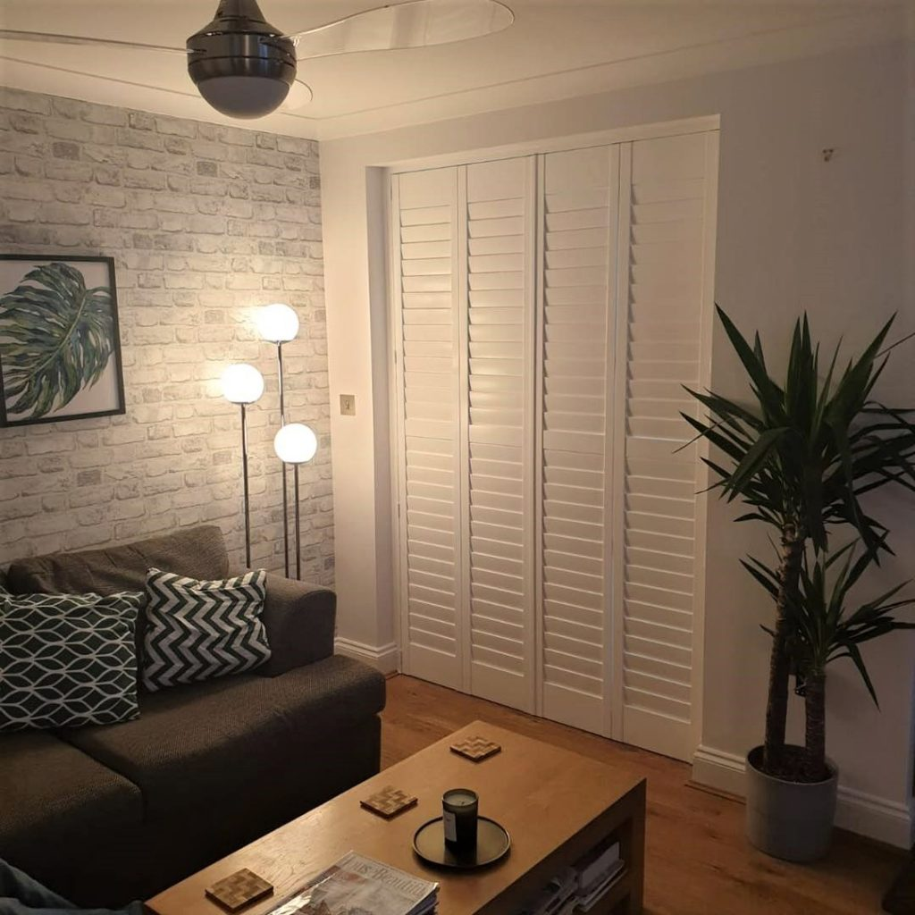 closed full height shutters in white