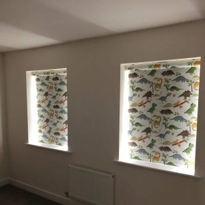 dinosaur roller blinds in child's room