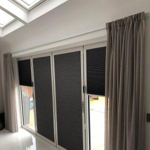 bifold door blinds half open