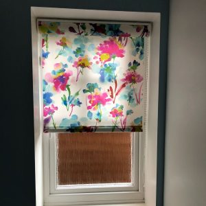 bright colourful floral roller blinds