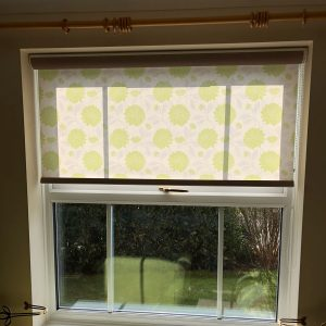 roller blinds with green floral pattern