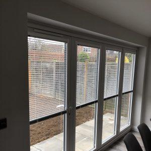 bi-fold door blinds, Venetian blinds half closed