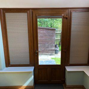 single wooden patio door with patio door blinds