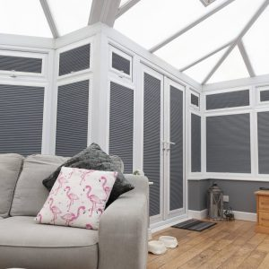closed blinds in conservatory