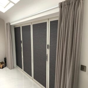 dark grey duette blinds on patio doors