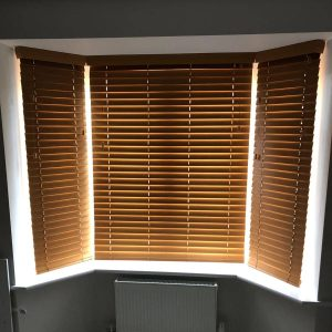 wooden Venetian blinds closed