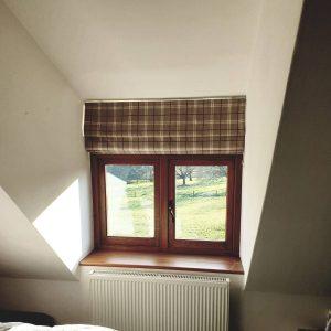 brown tartan checked Roman blinds