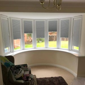 duette blinds on bay window