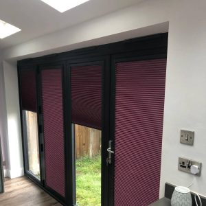 pleated perfect fit blinds on bifold door