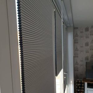 closeup of grey duette blinds