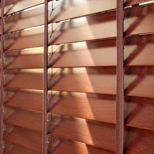 faux wood blinds closeup