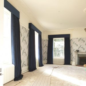 full length dark blue curtains