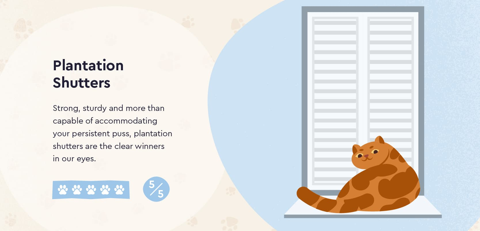 Plantation Shutters are great for cat owners
